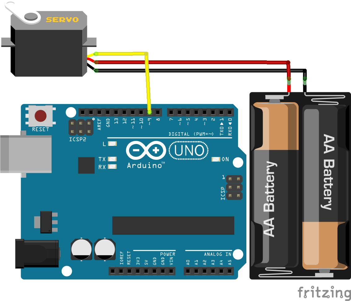 Control A Servo With Arduino Aranacorp Wiring Board Servomotor Can Be Powered By The But There Is Usually An External Power Source Computer Via Usb Cable