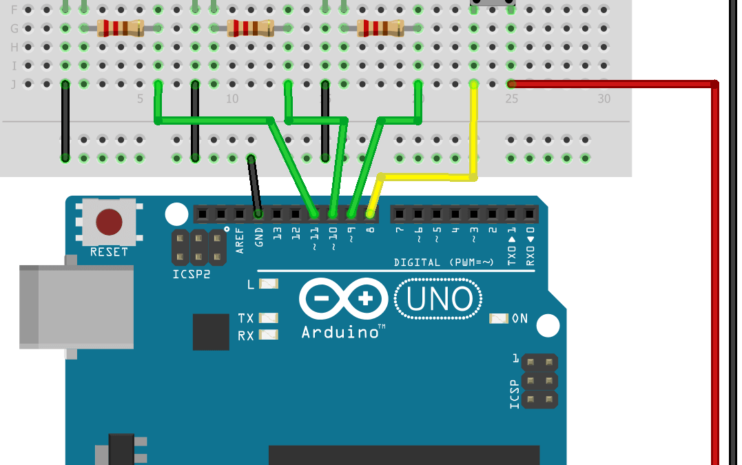 Control 3 LEDs with Arduino and one pushbutton