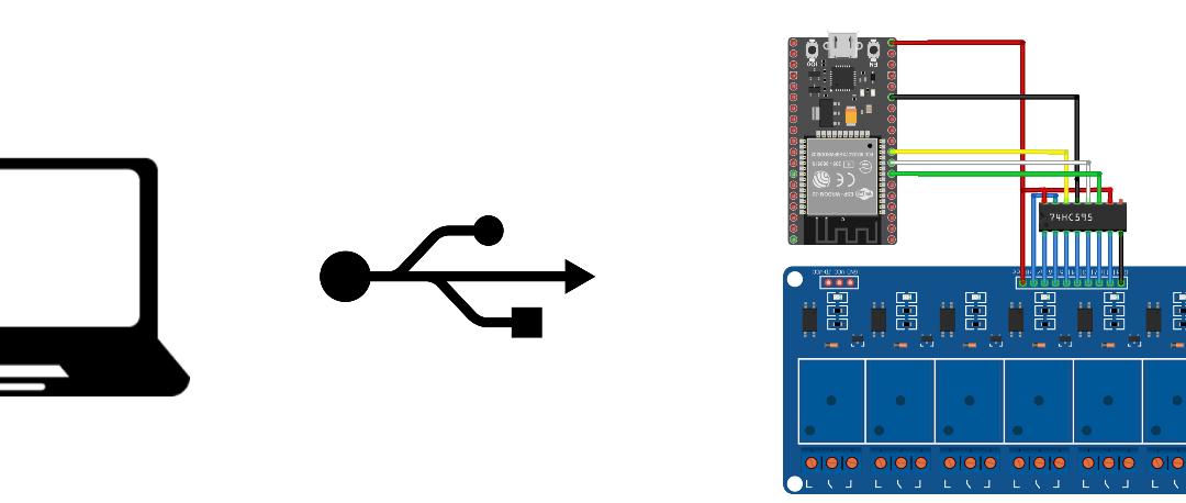Control de 8 relés mediante ESP32 y monitor de serie