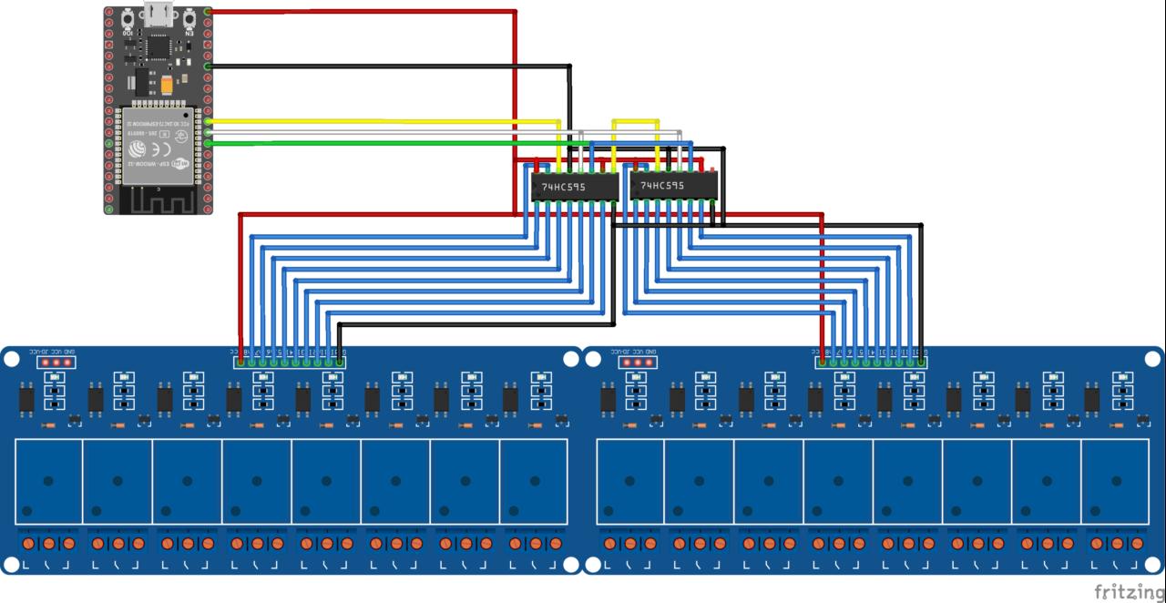 NodeMCU32S ESP32, shift registers 74HC595 and 16 relays module schematics
