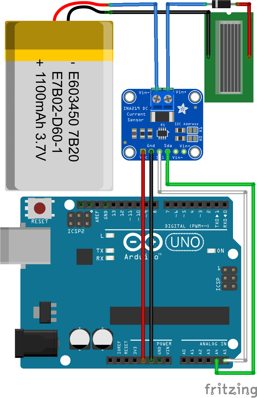 Schéma de connexion entre batterie LiPo Arduino, capteur INA219 et panneau solaire