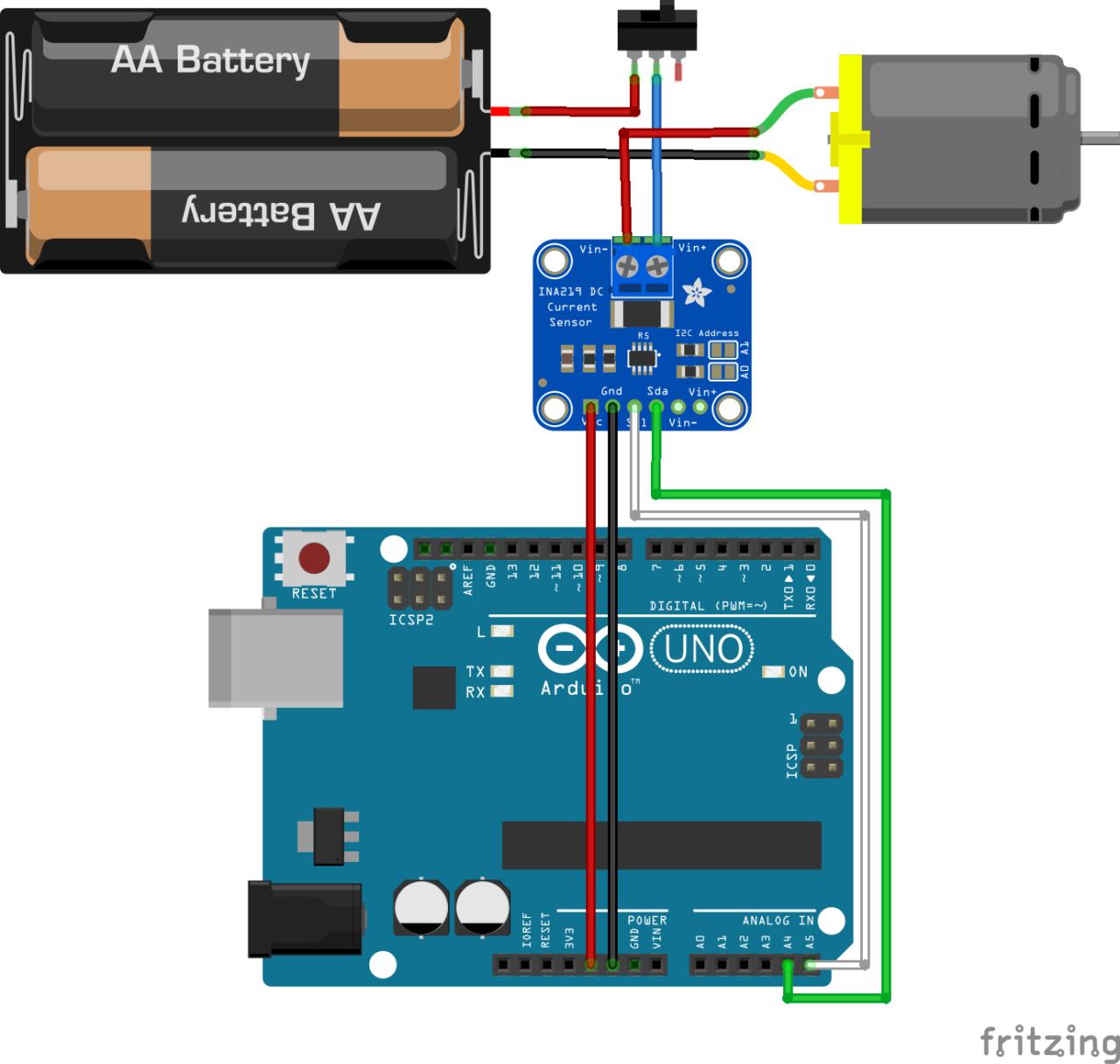 Schéma de connexion entre Arduino, INA219, moteur et source d'énergie