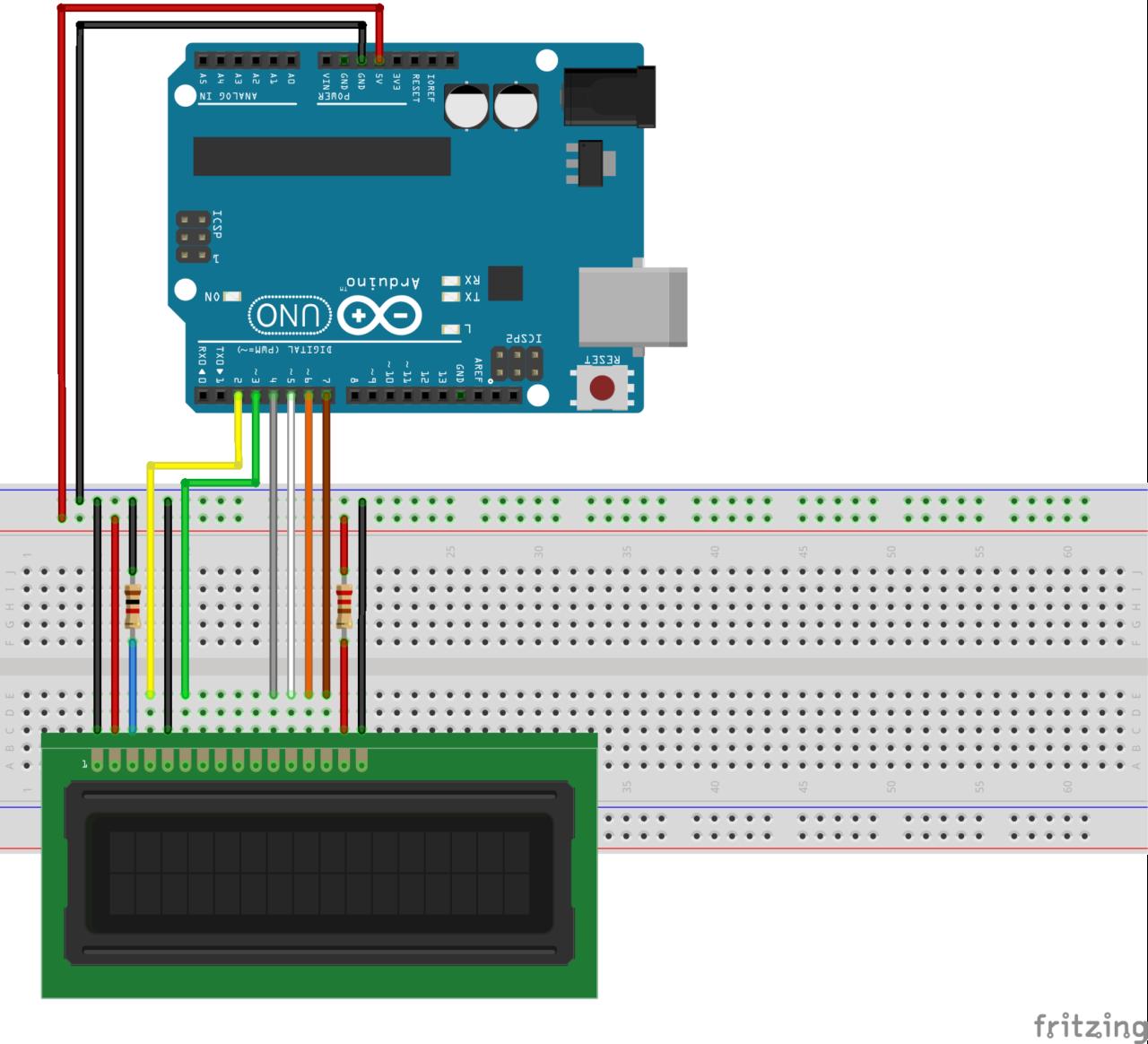 Schéma de câblage arduino lcd16x2