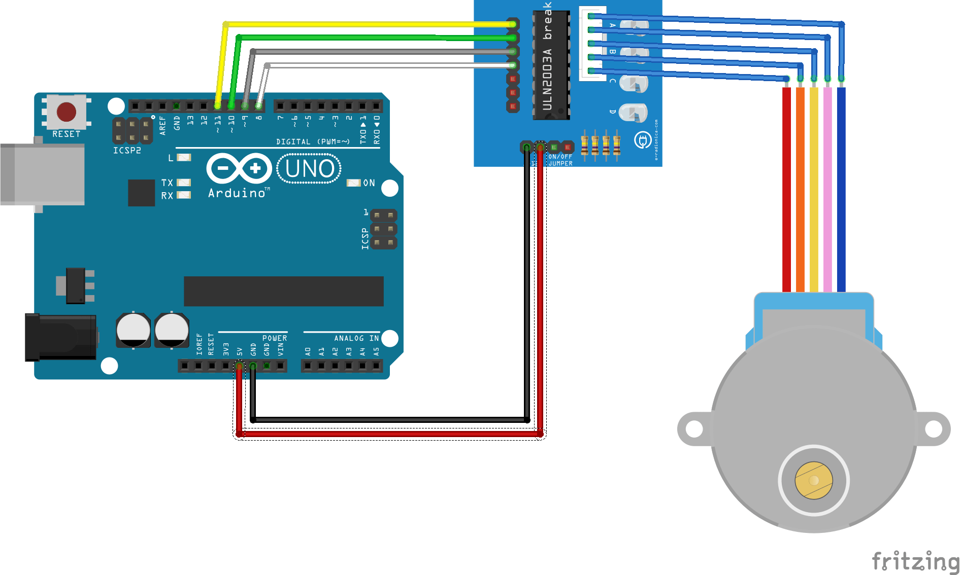Control A Stepper Motor With Arduino Aranacorp Wiring Vs In This Case The Can Be Powered Pin 5v Of Board And Via Usb Cable